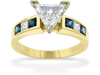 Trillium Shape Diamond Sapphire Engagement Ring
