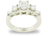 Round Baguette Five Stone Diamond Ring