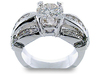 Round Pave Channel Diamond Engagement Ring