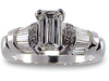 Emerald Cut Baguette Pave Diamond Engagement Ring