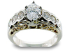 Oval Round Bezel Diamond Engagement Ring