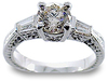 Round Filigree Diamond Engagement Ring