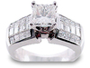 Princess Invisible Baguette Diamond Engagement Ring