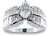 Marquise Baguette Diamond Engagement Ring