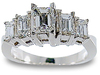 Five Emerald Cut Diamond Engagement Ring