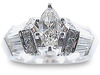 Marquise Pave Baguette Diamond Engagement Ring