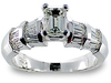 Emerald Cut Baguette Diamond Engagement Ring