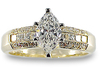 Marquise Princess Channel Pave Diamond Engagement Ring