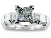 Princess Illusion Baguette Diamond Engagement Ring