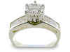 Round Princess Channel Diamond Engagement Ring