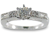 Round Pave Baguette Diamond Engagement Ring