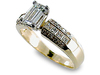 Emerald Cut Pave Channel Diamond Engagement Ring