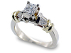 Baguette Princess Cut Diamond Engagement Ring