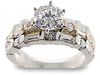 Round Baguette Diamond Engagement Ring