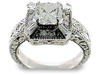 Radiant Pave Baguette Diamond Engagement Ring