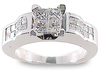 Princess Invisible Illusion Diamond Engagement Ring