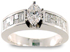 Marquise Invisible Baguette Diamond Engagement Ring
