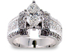 Pave Invisible Diamond Engagement Ring