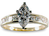 Marquise Princess Channel Diamond Engagement Ring